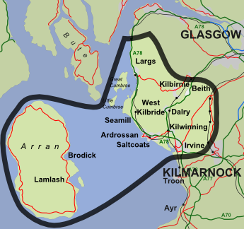 Map of North Ayrshire RSCDS catchment area